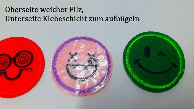 Kleinesbild - Filz-Aufbügler, Flicken, Applikation, Smiley - Gesichter, 10 verschiedene Bügelflicken für Kinder