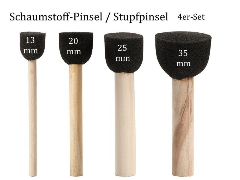 - Stump-Pinsel, Schwammpinsel, Stempelpinsel, Schaumstoff-Pinsel,4er-Set - Stump-Pinsel, Schwammpinsel, Stempelpinsel, Schaumstoff-Pinsel,4er-Set