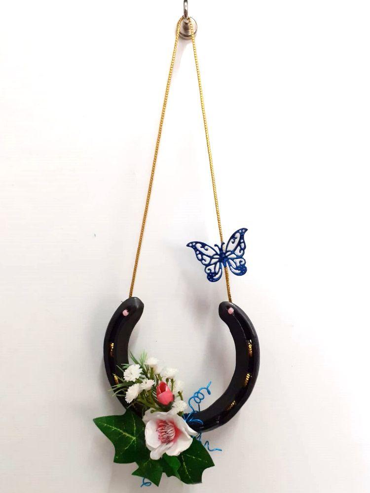 Kleinesbild - Hufeisen Blumengruß, Glücksbringer, Glück, Lucky, Türkranz, Frühling, Sommer, Kunstblumen, Geschenk,
