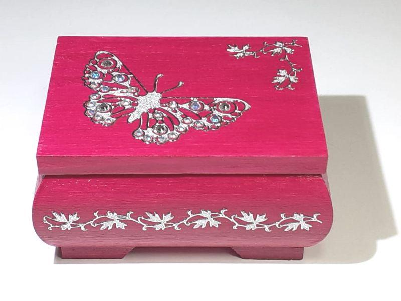 - Kleines Schatzkästchen, handbemalte und verzierte Holzschachtel in dunkel Pink mit Schmetterling - Kleines Schatzkästchen, handbemalte und verzierte Holzschachtel in dunkel Pink mit Schmetterling