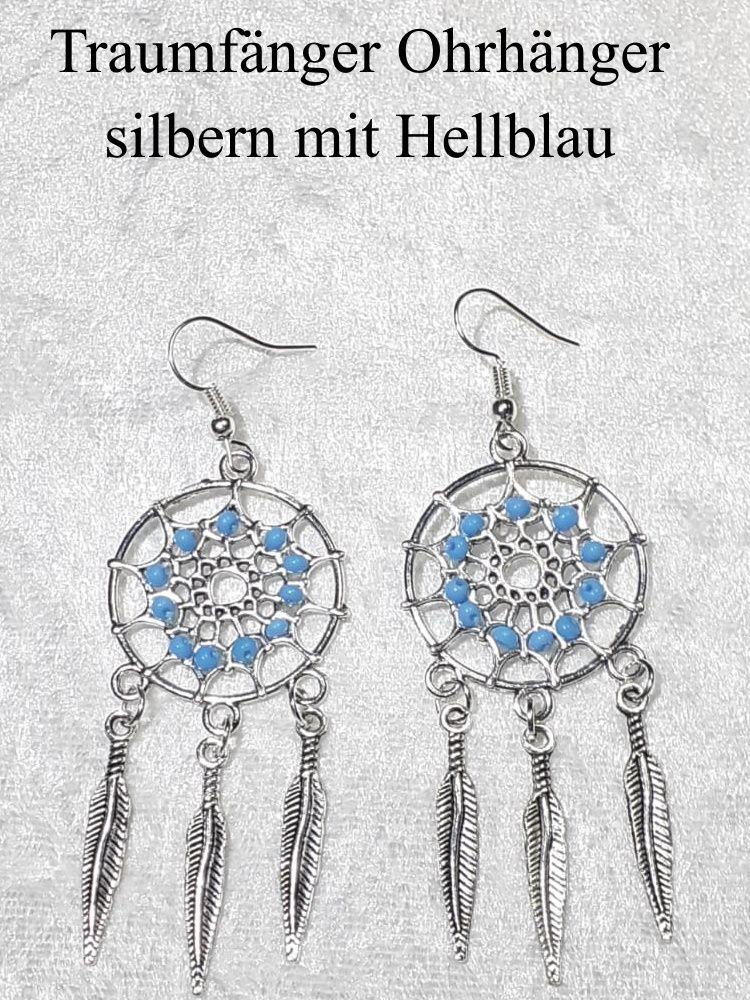 - Traumfänger Ohrhänger Ohrringe 7 cm lang Ohr-Schmuck silberfarben mit hellblauen Perlen    - Traumfänger Ohrhänger Ohrringe 7 cm lang Ohr-Schmuck silberfarben mit hellblauen Perlen