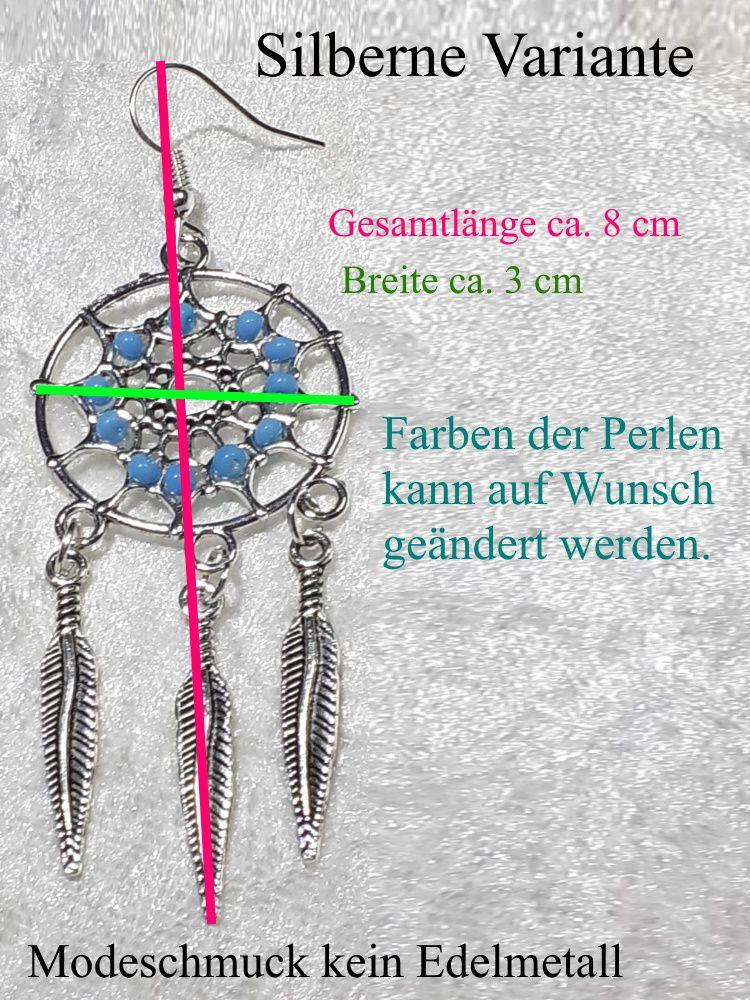 Kleinesbild - Traumfänger Ohrhänger Ohrringe 7 cm lang Ohr-Schmuck silberfarben mit hellblauen Perlen