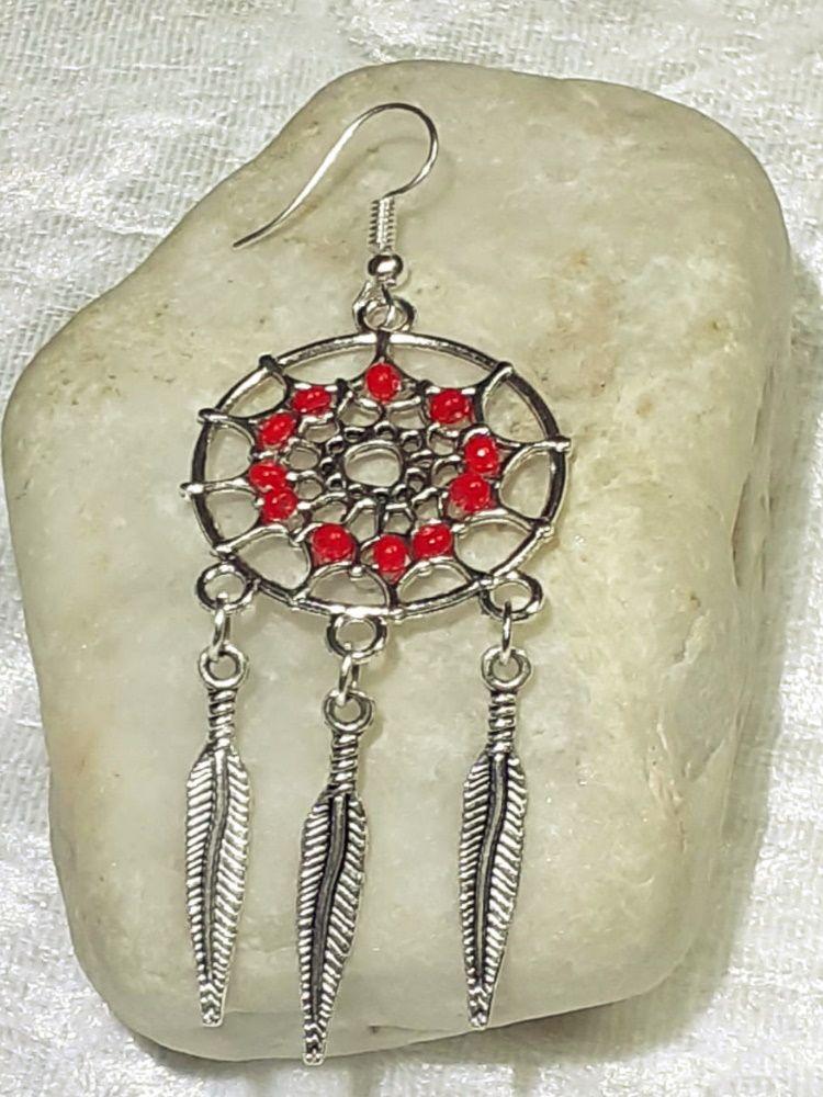 Kleinesbild - Traumfänger Ohrhänger Ohrringe 7 cm lang Ohr-Schmuck silberfarben mit roten Perlen