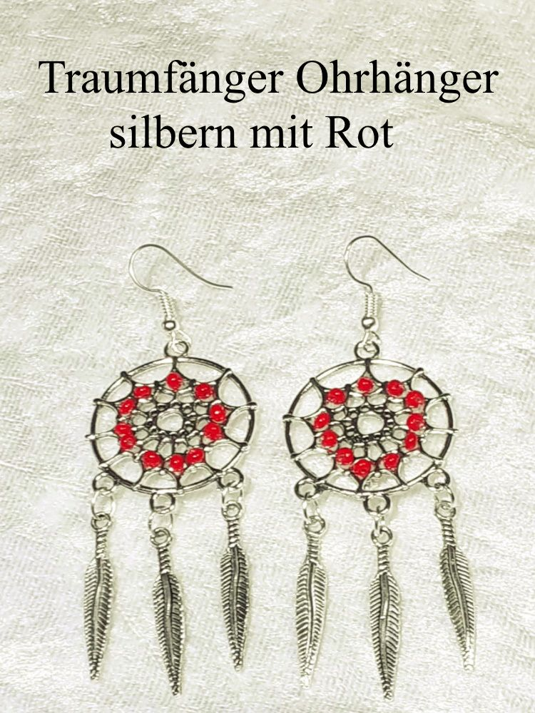 - Traumfänger Ohrhänger Ohrringe 7 cm lang Ohr-Schmuck silberfarben mit roten Perlen - Traumfänger Ohrhänger Ohrringe 7 cm lang Ohr-Schmuck silberfarben mit roten Perlen