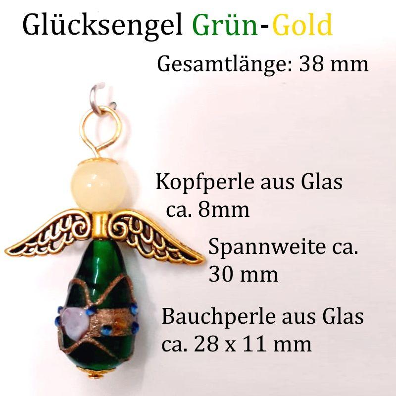 Kleinesbild - Schutzengel Glücksengel, Kettenanhänger Glücksbringer Engel Anhänger Grün-Gold ca. 38 x 30 mm