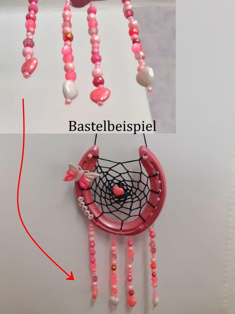 Kleinesbild - Herz-Perlen für Kinder, bunt & schimmernt  ca. 25 mm groß für Armbänder, Ketten und mehr, aus Kunststoff