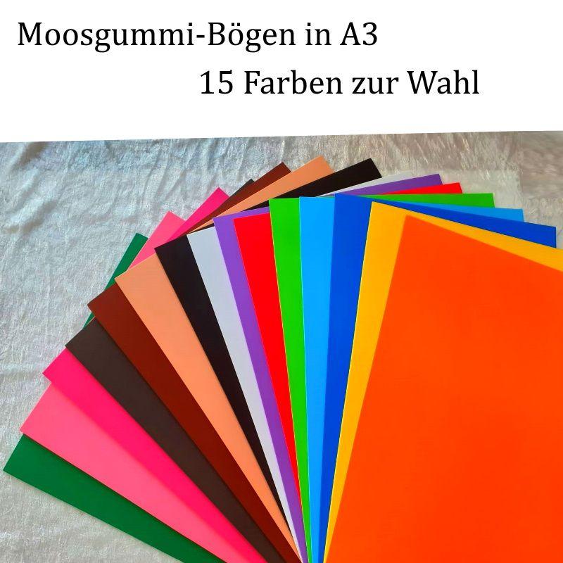 Kleinesbild - Moosgummi in A3 -- Dunkelbraun -- 27,7 cm x 42 cm x 2mm zum Basteln. Erhältlich in 15 Farben