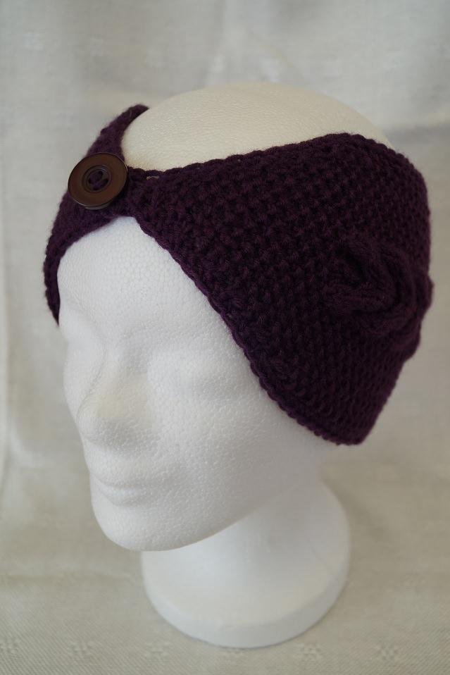 Kleinesbild - Stirnband in Brombeere, Merino, mit Knopf