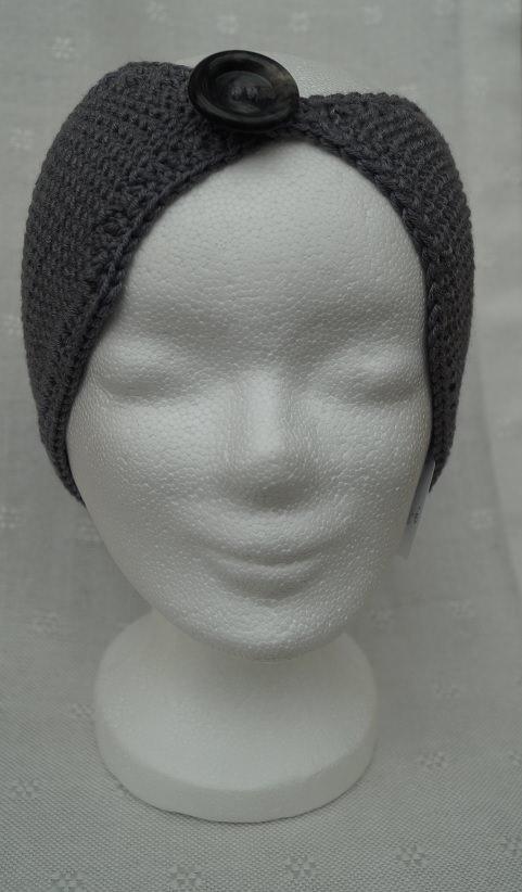 - Stirnband in grau, Merino, mit Knopf, handgestrickt - Stirnband in grau, Merino, mit Knopf, handgestrickt
