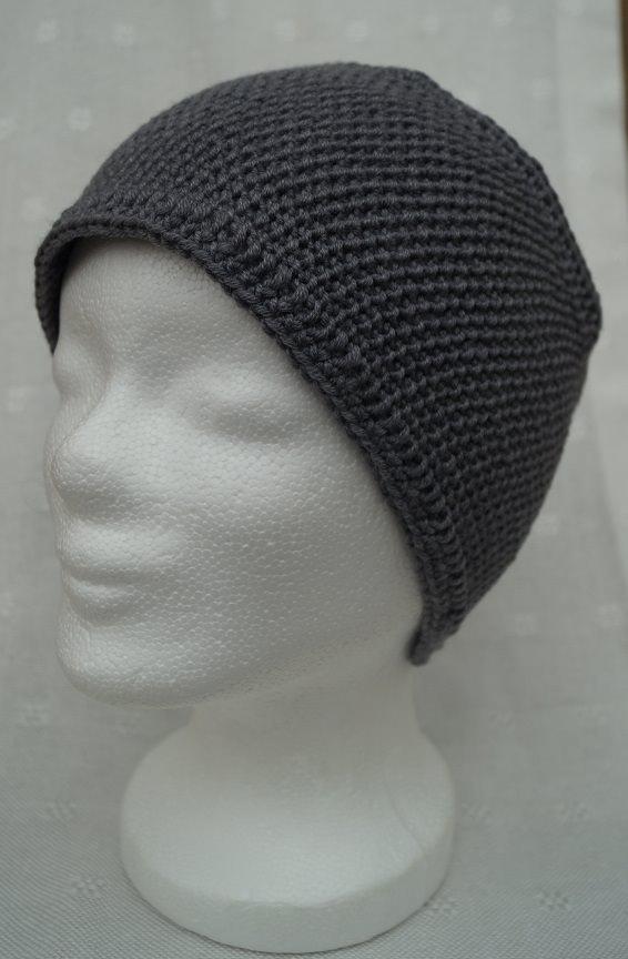 Kleinesbild - Stirnband in grau, Merino, mit Knopf, handgestrickt