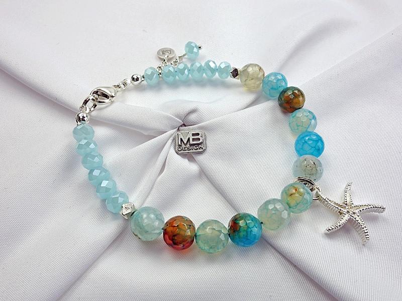 - Damen-Armband mit Achaten, Glaskristallen und einem Seestern aus Silber 925 - Damen-Armband mit Achaten, Glaskristallen und einem Seestern aus Silber 925