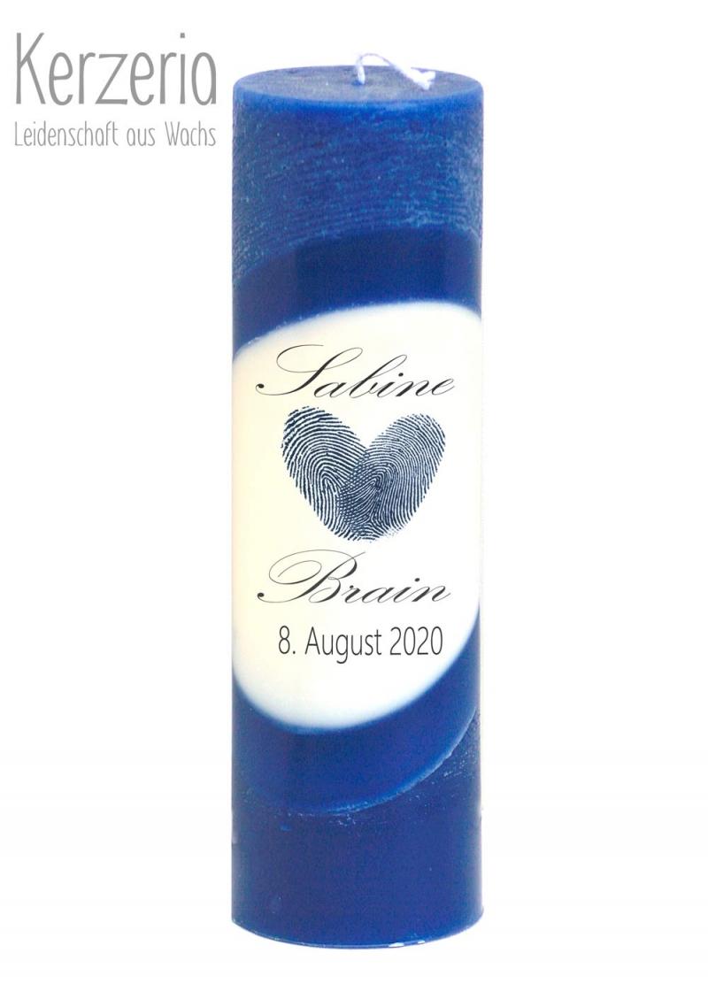 Kleinesbild - Echte Fingerabdrücke Herz ♥ Blaue Hochzeitskerze Öko ♥ handgefertigt