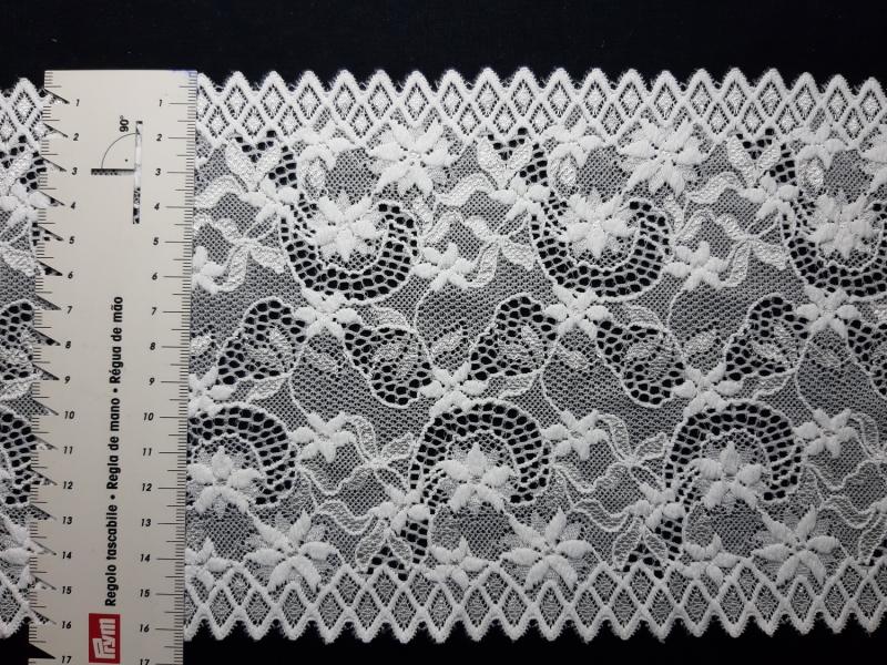 - Spitzenborte elastisch weiß 16 cm breit - Spitzenborte elastisch weiß 16 cm breit