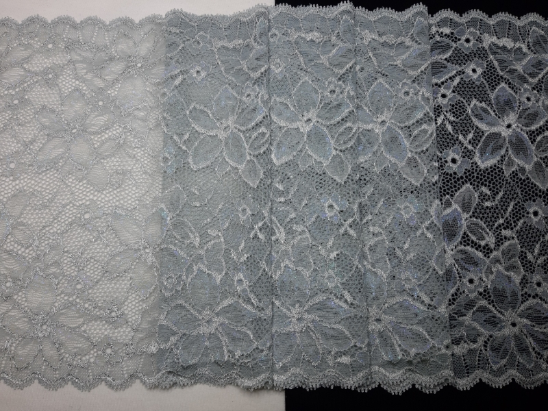 - Spitzenborte elastisch silbergrau mit permutt 23 cm breit - Spitzenborte elastisch silbergrau mit permutt 23 cm breit