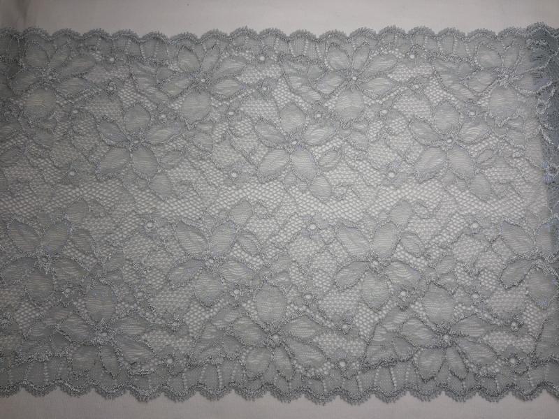 Kleinesbild - Spitzenborte elastisch silbergrau mit permutt 23 cm breit