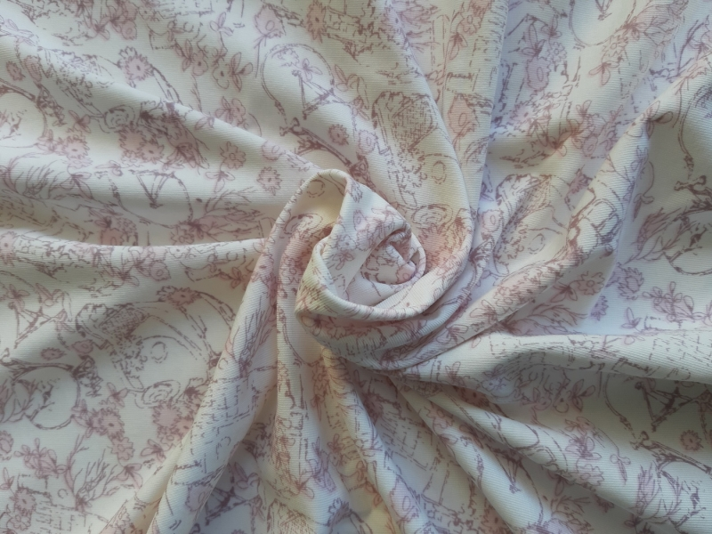 - Bi-elastischer Jersey zart gemustert auf cremefarbigem Grund 160 cm breit - Bi-elastischer Jersey zart gemustert auf cremefarbigem Grund 160 cm breit