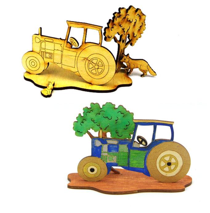 Kleinesbild - Traktor mit Baum, Fuchs und Hase als Geburtstagsset zum Basteln aus Holz für Traktorliebhaber