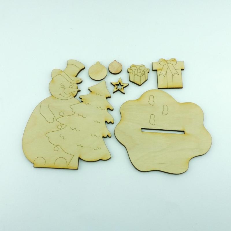 Kleinesbild - Schneemann mit Tanne, Bastelset aus Holz für Weihnachten, Basteln mit Kinder, Weihnachtsdeko
