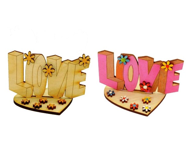 Kleinesbild - Love Schriftzug aus Holz stehend zum Basteln mit Kindern oder Freunden an Geburtstagen