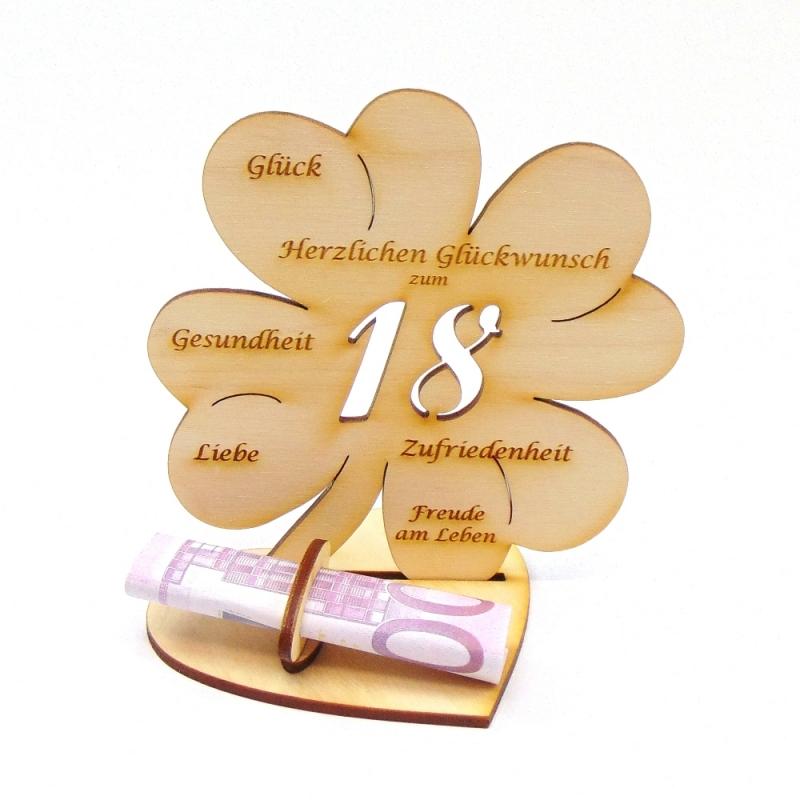 - Geldgeschenk zum 18. Geburtstag Kleeblatt 11 cm,  Herzlichen Glückwunsch zum 18 - Geldgeschenk zum 18. Geburtstag Kleeblatt 11 cm,  Herzlichen Glückwunsch zum 18