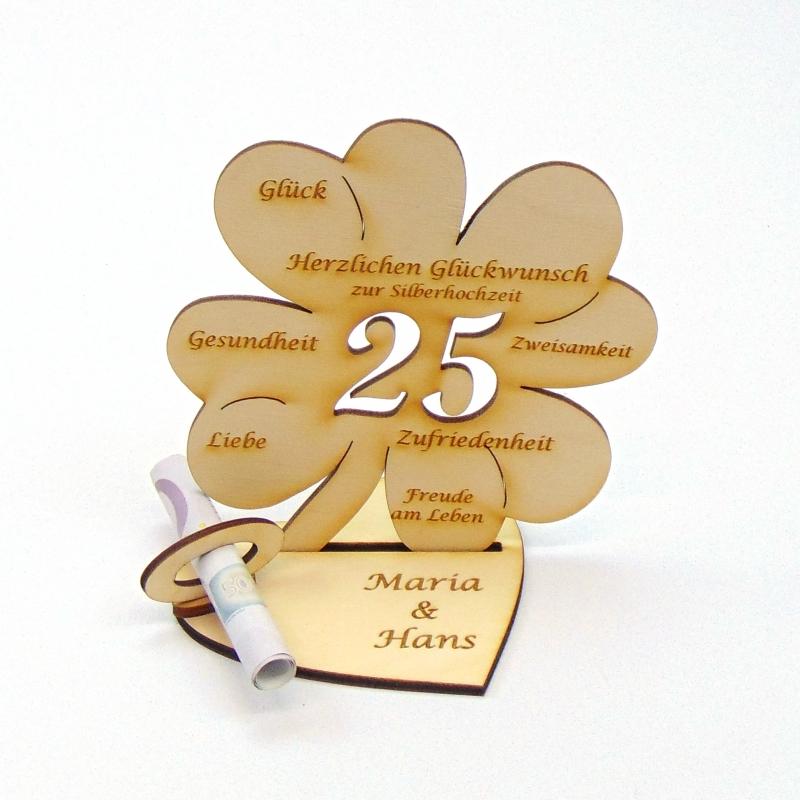 Kleinesbild - Geldgeschenk zum 18. Geburtstag Kleeblatt 11 cm,  Herzlichen Glückwunsch zum 18