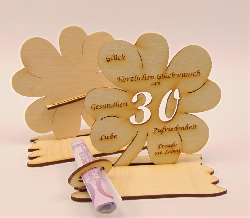 Kleinesbild - Personalisiertes Geschenk zum 30. Geburtstag Kleeblatt 11 cm,  Geldschein und Gutschein Geschenk