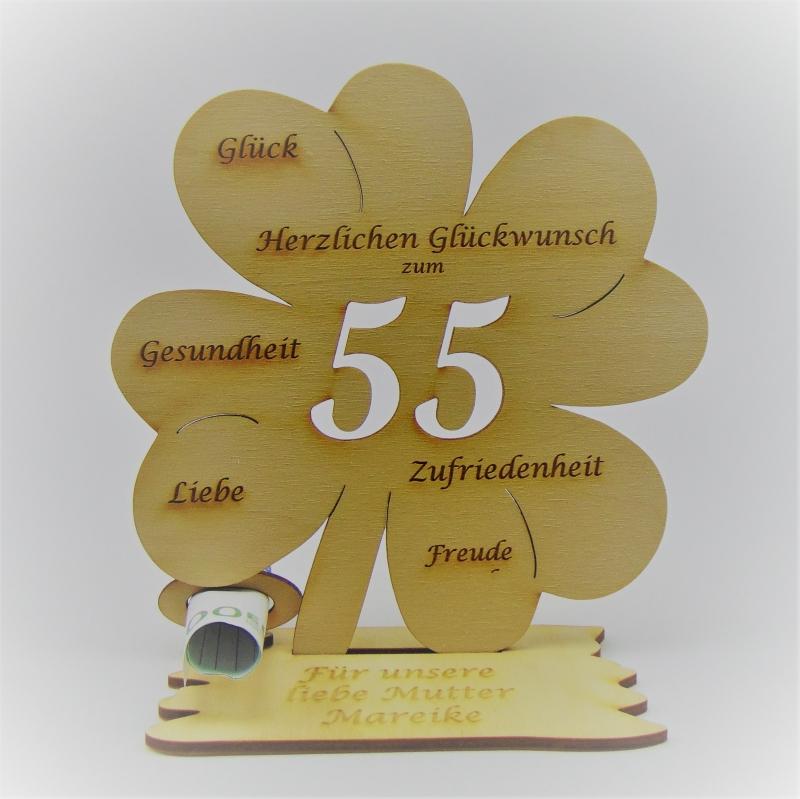 - Geldgeschenk zum 55. Geburtstag Kleeblatt 16 cm,  Herzlichen Glückwunsch zum 55 Personalisiert - Geldgeschenk zum 55. Geburtstag Kleeblatt 16 cm,  Herzlichen Glückwunsch zum 55 Personalisiert