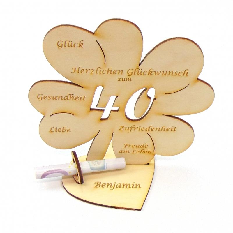 Kleinesbild - Geldgeschenk Kleeblatt 16 cm zum 25. Geburtstag,  Herzlichen Glückwunsch zum 25