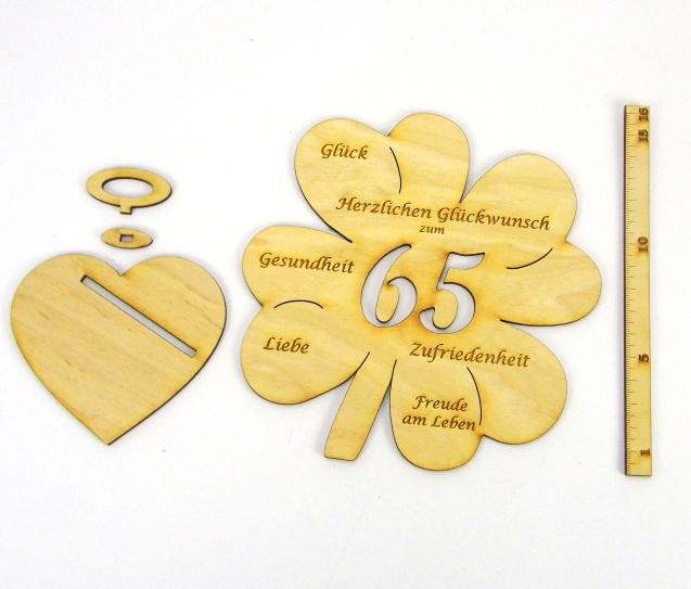 Kleinesbild - Personalisiertes Geldgeschenk Kleeblatt 16 cm ♥ zum 60. Geburtstag,♥  Herzlichen Glückwunsch zum 60