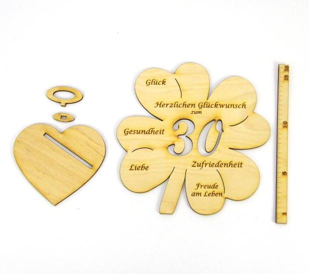 Kleinesbild - Geldgeschenk Kleeblatt 16 cm zum 30. Geburtstag,  Herzlichen Glückwunsch zum 30