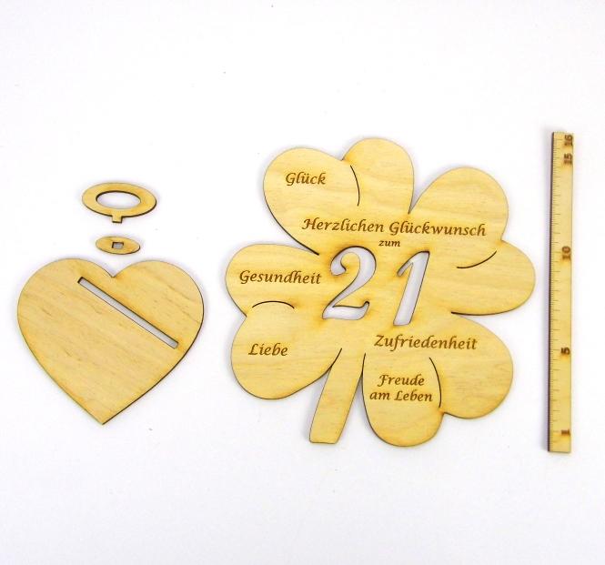 Kleinesbild - Personalisiertes Geburtstagsgeschenk ♥  zum 21. Geburtstag, ♥ Kleeblatt 16 cm Für Geld und Gutschein