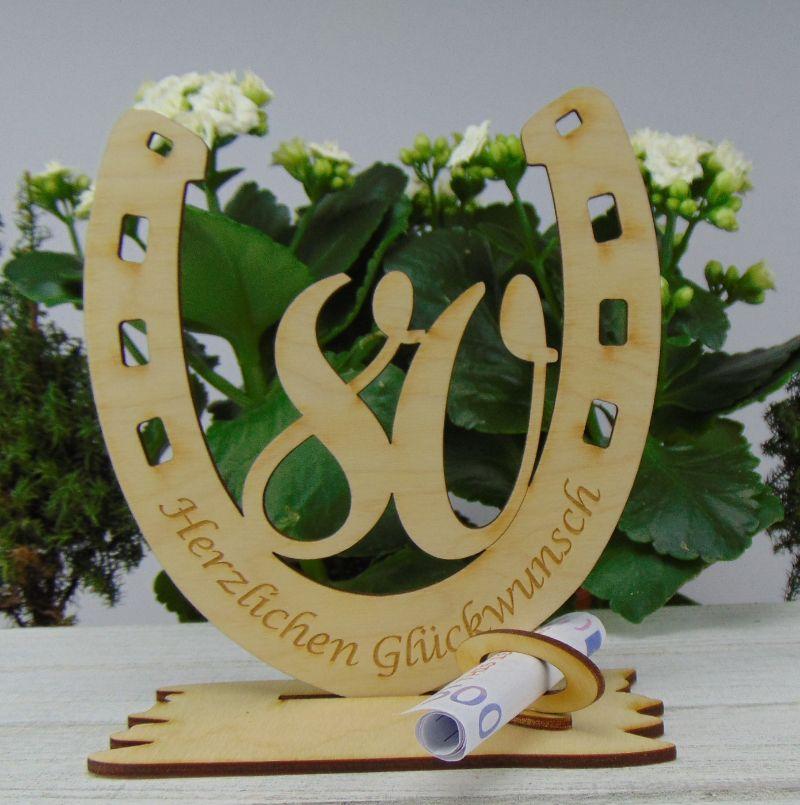 Kleinesbild - Personalisiertes Geschenk zum 80. Geburtstag, Hufeisen 15 cm aus Holz mit Geldscheinhalter und Gutscheinhalter