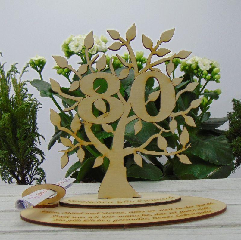 - Geschenk zum 80. Geburtstag, Personalisiertes Gutschein oder Geldgeschenk Tischdekoration aus Birkenholz  - Geschenk zum 80. Geburtstag, Personalisiertes Gutschein oder Geldgeschenk Tischdekoration aus Birkenholz