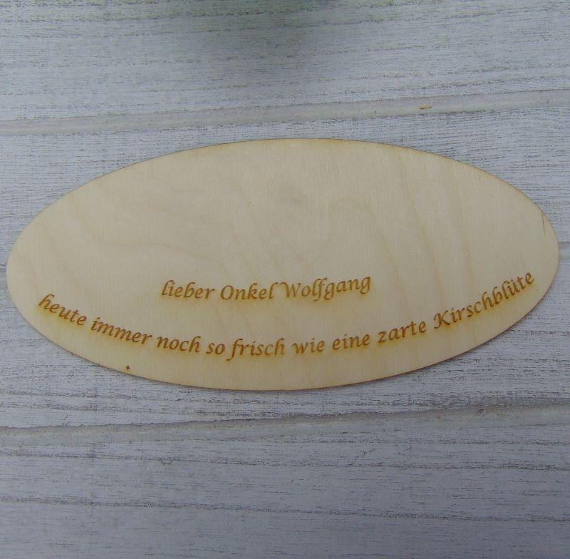 Kleinesbild - Geschenk zum 80. Geburtstag, Personalisiertes Gutschein oder Geldgeschenk Tischdekoration aus Birkenholz