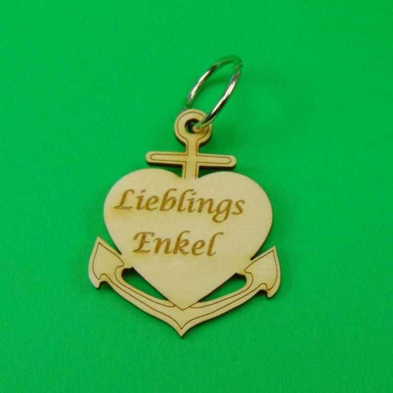 - Schlüsselanhänger aus Holz ♥ Lieblingsenkel ♥ Anker mit Herz zum Verschenken - Schlüsselanhänger aus Holz ♥ Lieblingsenkel ♥ Anker mit Herz zum Verschenken