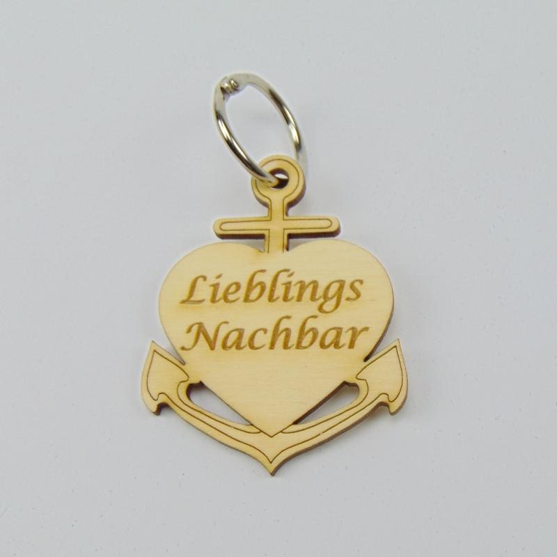 Kleinesbild - Schlüsselanhänger aus Holz ♥Lieblingsnachbar ♥ Anker mit Herz zum Verschenken