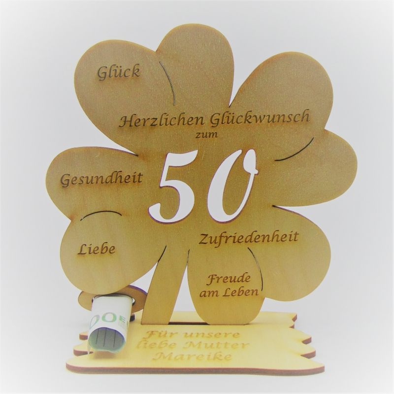 - Geldgeschenk Kleeblatt 11 cm aus Holz zum 50. Geburtstag,  Herzlichen Glückwunsch Personalisiert   - Geldgeschenk Kleeblatt 11 cm aus Holz zum 50. Geburtstag,  Herzlichen Glückwunsch Personalisiert