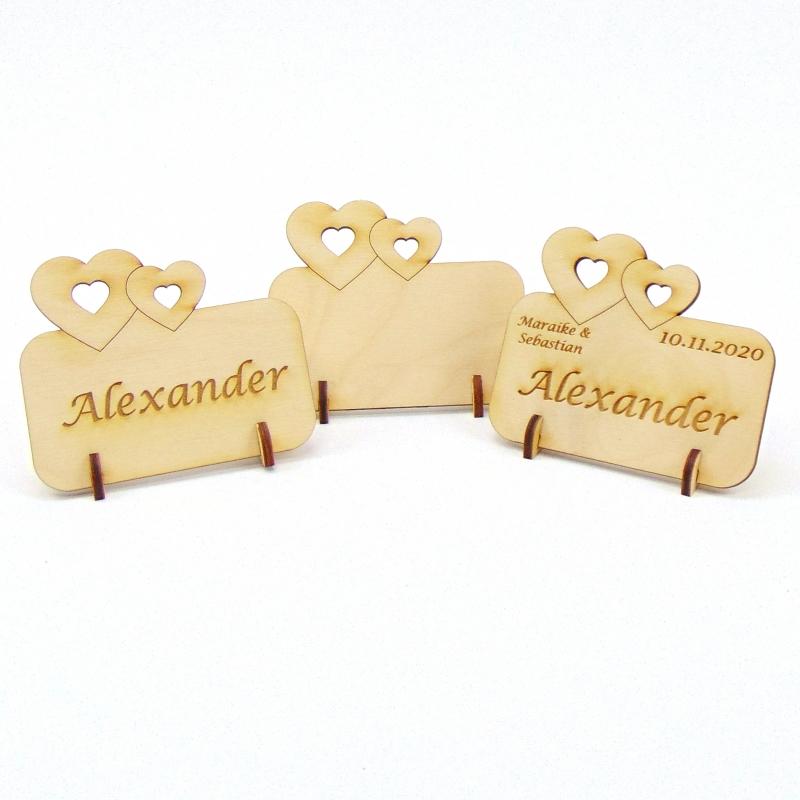 - Doppelherz Groß und Klein, Tischkarte für Hochzeit Platzkarte Namensschild für Festtafel aus Holz, für Verliebte, fürs Brautpaar  - Doppelherz Groß und Klein, Tischkarte für Hochzeit Platzkarte Namensschild für Festtafel aus Holz, für Verliebte, fürs Brautpaar