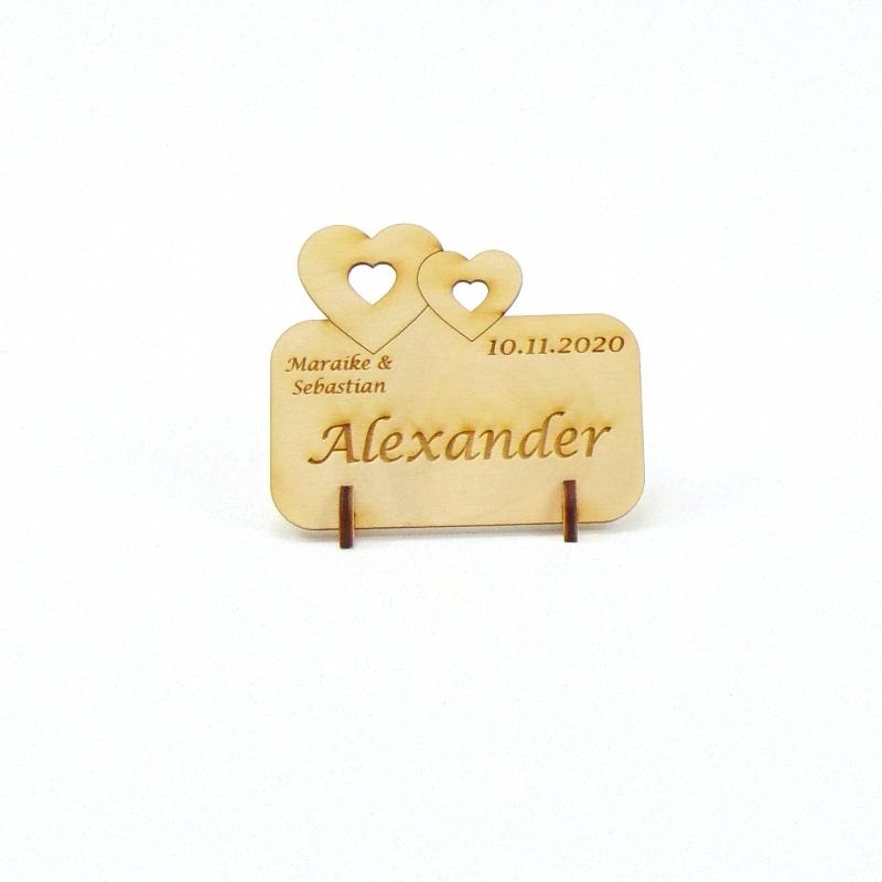 Kleinesbild - Doppelherz Groß und Klein, Tischkarte für Hochzeit Platzkarte Namensschild für Festtafel aus Holz, für Verliebte, fürs Brautpaar