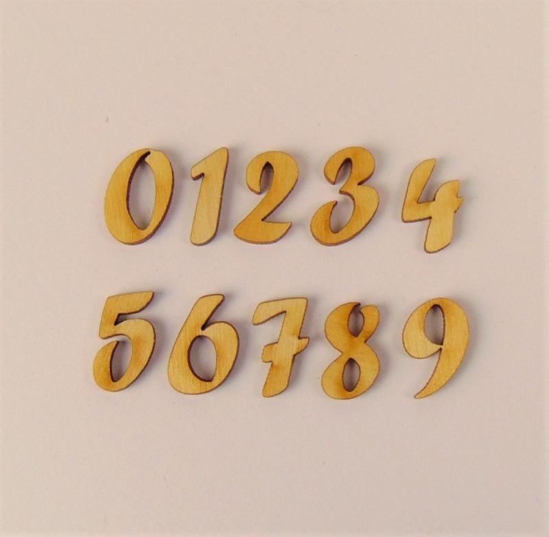 Kleinesbild - Schreibschrift Buchstaben und Zahlen Forte 21 mm hoch Holzbuchstaben Türschild Wandtatoo Alphabeth Sonderposten