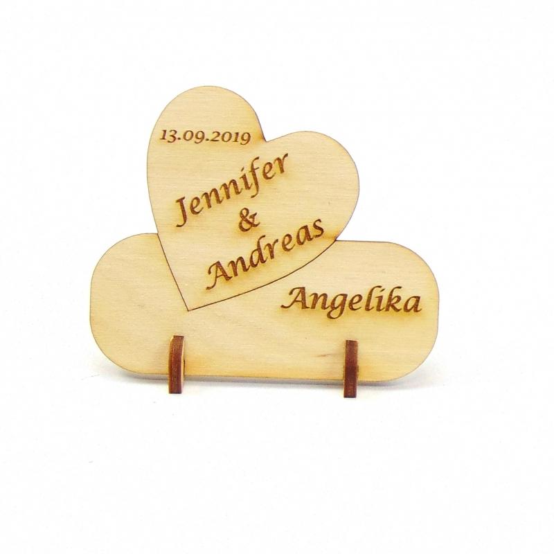 Kleinesbild - Herz Tischkarte Namensschild aus Holz für Hochzeit Tafel oder Geschenk zur Verlobung, zum Valentinstag Holzschild