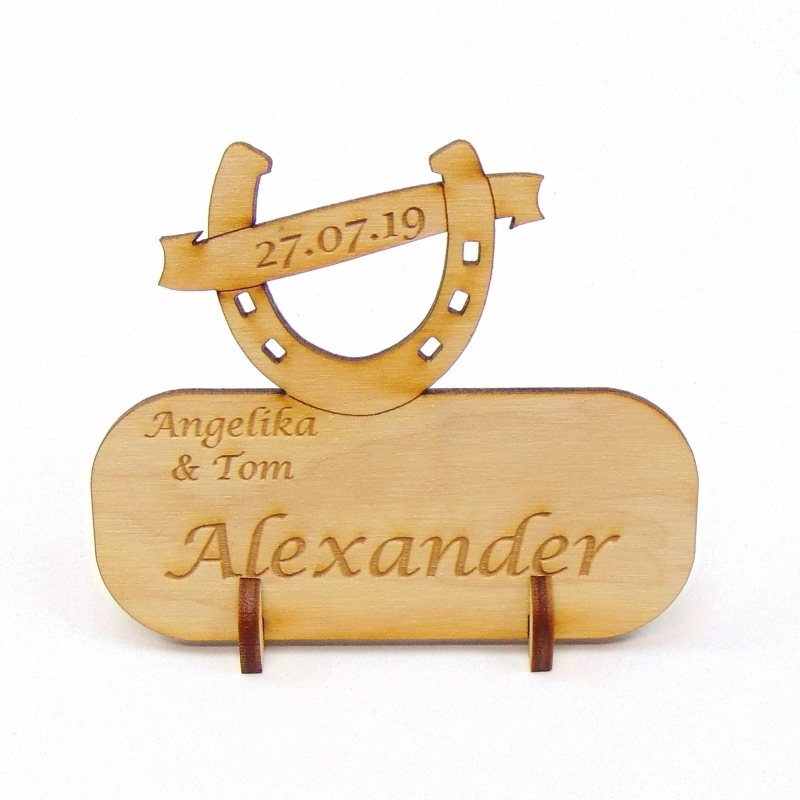Kleinesbild - Hufeisen mit Banner, Tischkarte Namensschild aus Holz für Hochzeit Tafel, Gastgeschenk