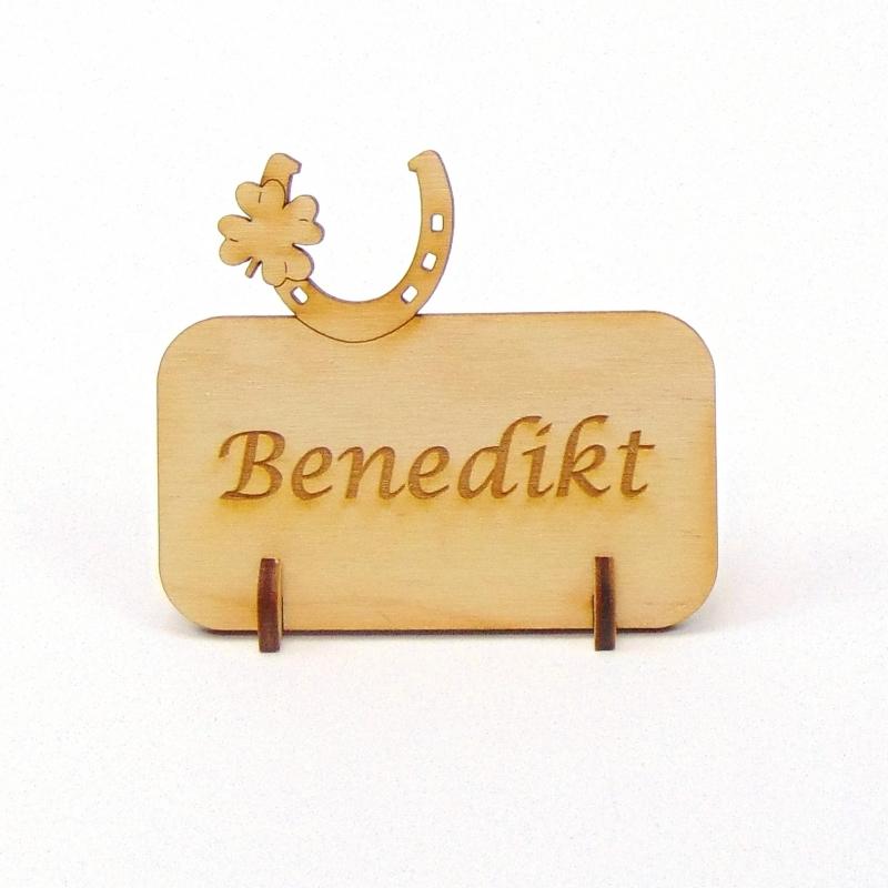 Kleinesbild - Hufeisen mit Kleeblatt, Tischkarte Namensschild aus Holz für Hochzeit, Geburtstag, Pferde Liebhaber, Reiter, Turnier