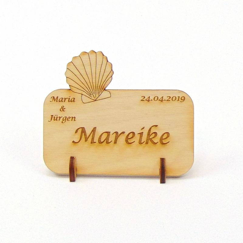 Kleinesbild - Muschel Tischkarte Namensschild aus Holz für Hochzeit, Geburtstag, Badezimmer Deko