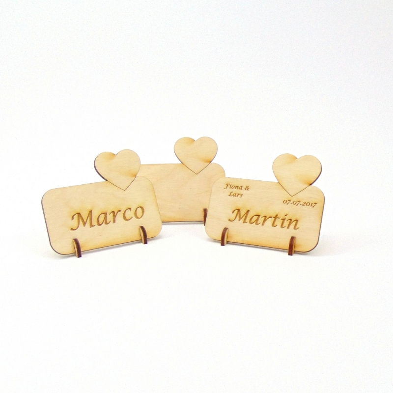 - kleines Herz Tischkarte Namensschild aus Holz für Hochzeit, Geburtstag, Valentinstag, Verlobung - kleines Herz Tischkarte Namensschild aus Holz für Hochzeit, Geburtstag, Valentinstag, Verlobung