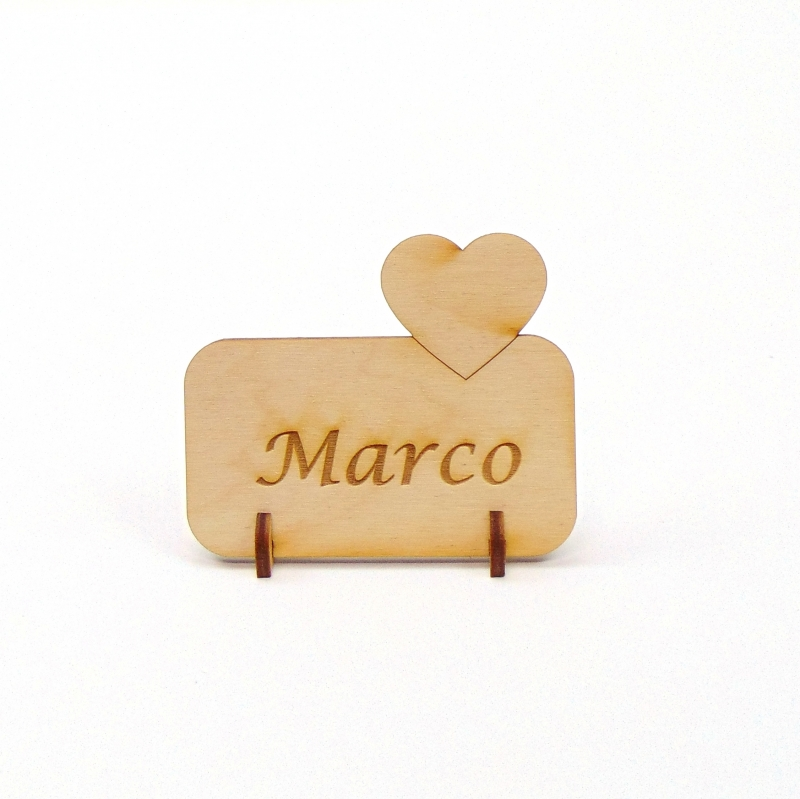 Kleinesbild - kleines Herz Tischkarte Namensschild aus Holz für Hochzeit, Geburtstag, Valentinstag, Verlobung