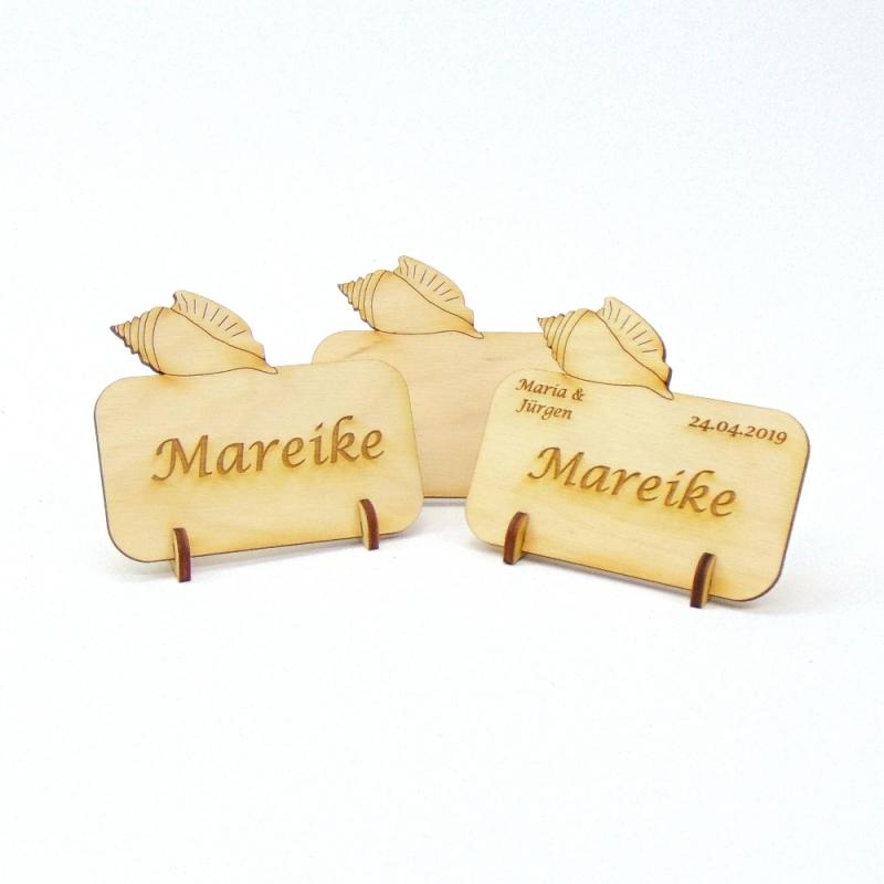 - Tischkarte mit Muschel Namensschild aus Holz für Hochzeit, Geburtstag, Badezimmer Deko - Tischkarte mit Muschel Namensschild aus Holz für Hochzeit, Geburtstag, Badezimmer Deko