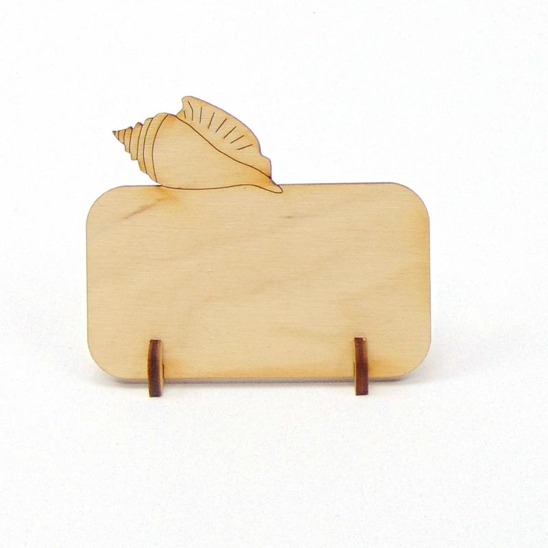 Kleinesbild - Tischkarte mit Muschel Namensschild aus Holz für Hochzeit, Geburtstag, Badezimmer Deko
