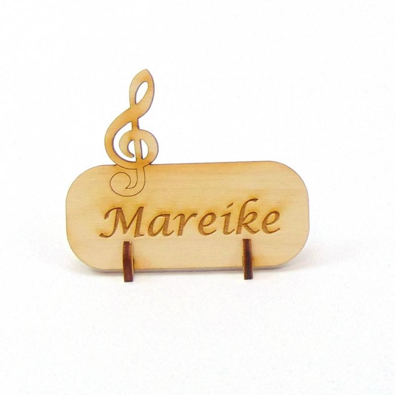 Kleinesbild - Notenschlüssel Tischkarte Namensschild aus Holz für Hochzeit, Geburtstag, Musiker, Festival, Chor