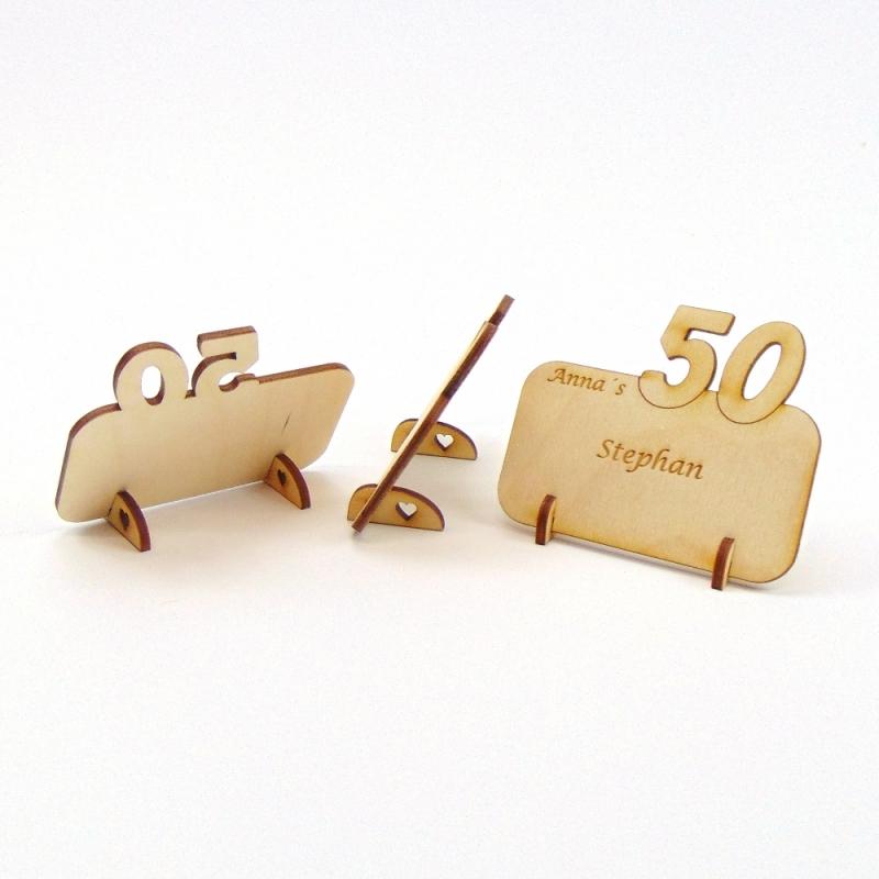 Kleinesbild - Tischkarte mit Zahl 50, Platzkarte Namensschild für Festtafel aus Holz, 50 Geburtstag